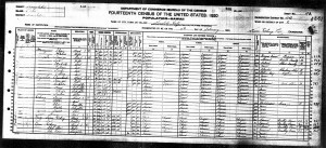 1920 Census showing Ching Family